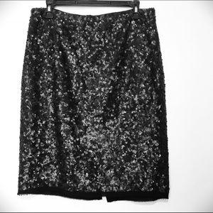 Talbots Black Silk Sequins Pencil Skirt SZ 8